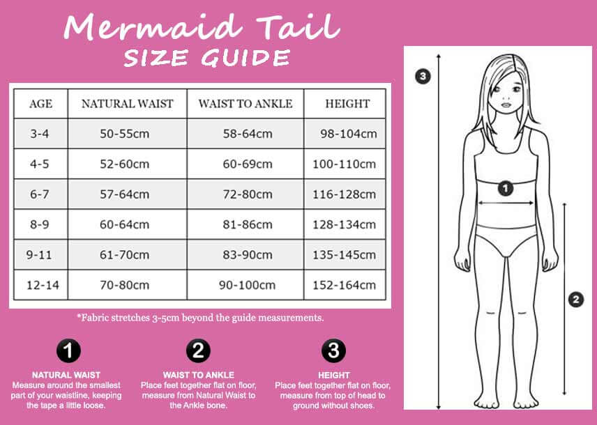 Mermaid Tails Size Chart by Planet Mermaid