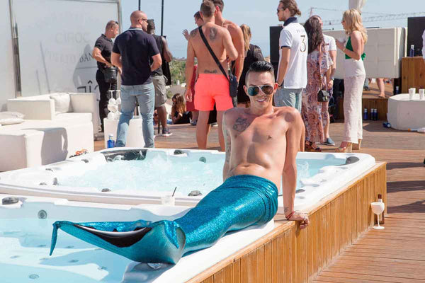 Bobby Cole Norris with Planet Mermaids Turquoise Scales Mermaid Tail