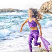 Fin Fun at the beach with the Purple Surf Mermaid Leggings set