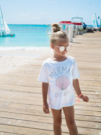"""Mermaid Off Duty"" White Girls Cotton T-shirt With Print Worn on The Beach"