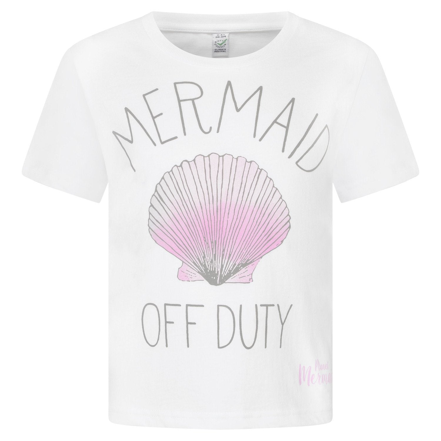 """Mermaid Off Duty"" White Girls Cotton T-shirt With Print Front"
