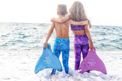Mermaid and Merboy fun with Magic Fins at the beach