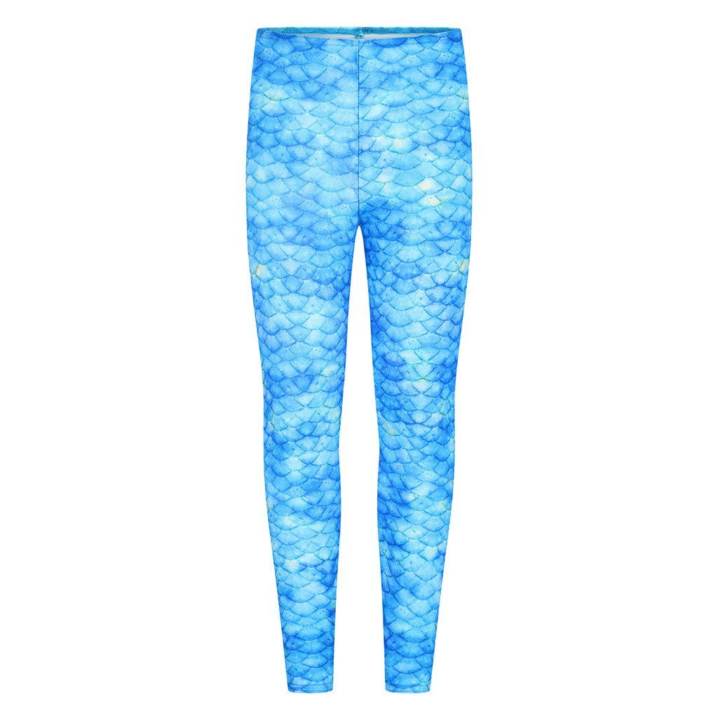 Frozen Aqua Blue Mermaid Leggings