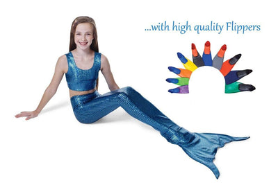 Frozen Blue Scales Mermaid Tail with Flippers