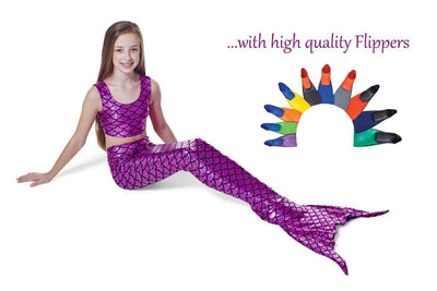 Fuschia Pink mermaid tail with flippers