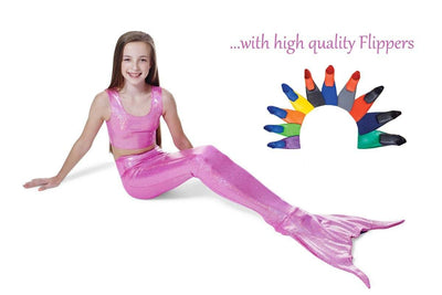 Princess Pink Mermaid Tail with Flippers