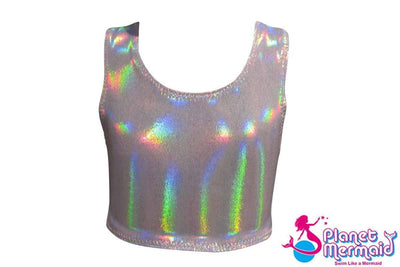Mermaid Crop Top - Silver Sparkle