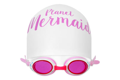 Swimming hat and pink goggles from Planet Mermaid