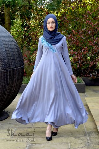 Grey Blossom Dress with complementary matching scarf