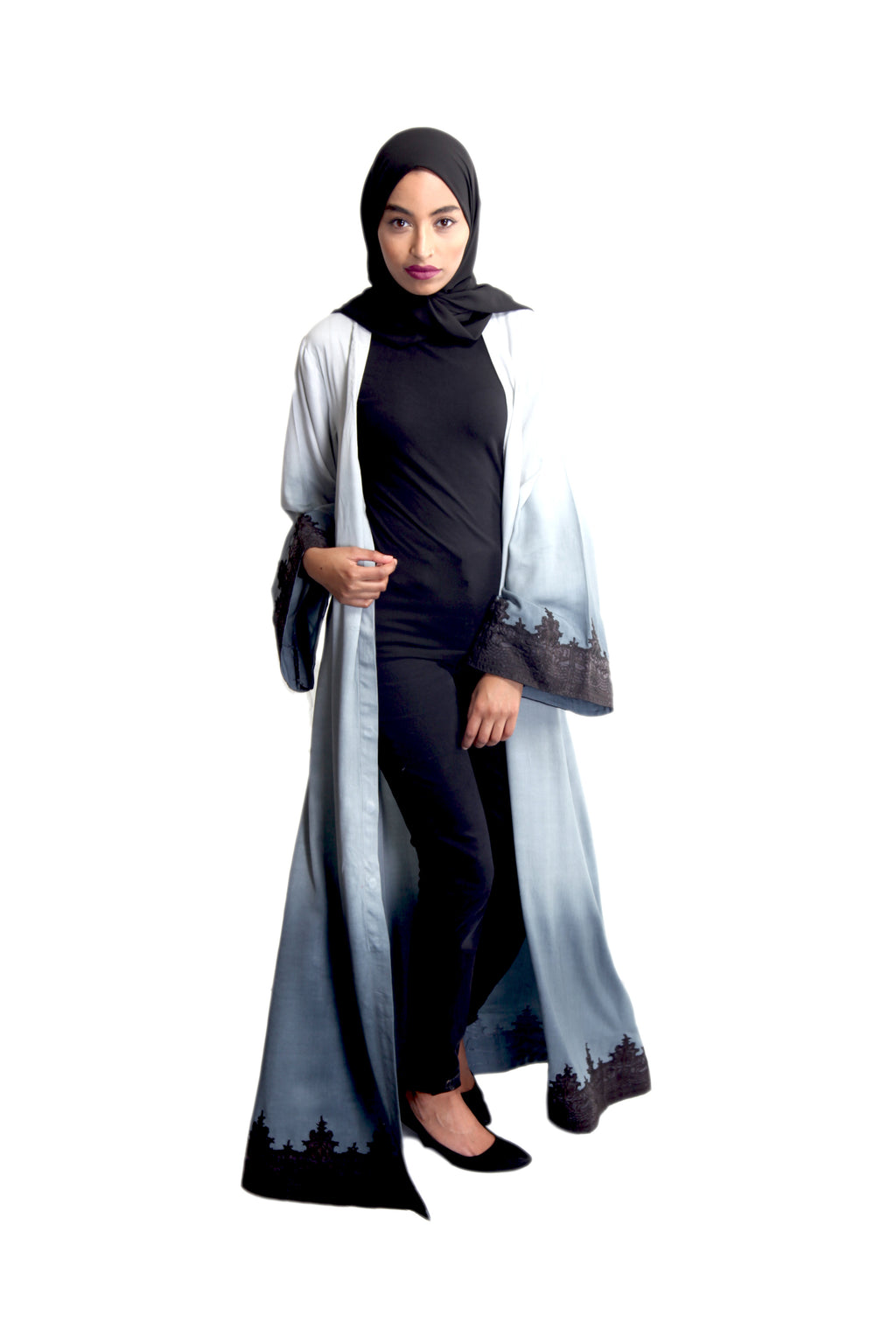 Grey Ombre' Lace Abaya
