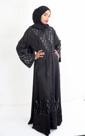 Black Leather Applique' Abaya
