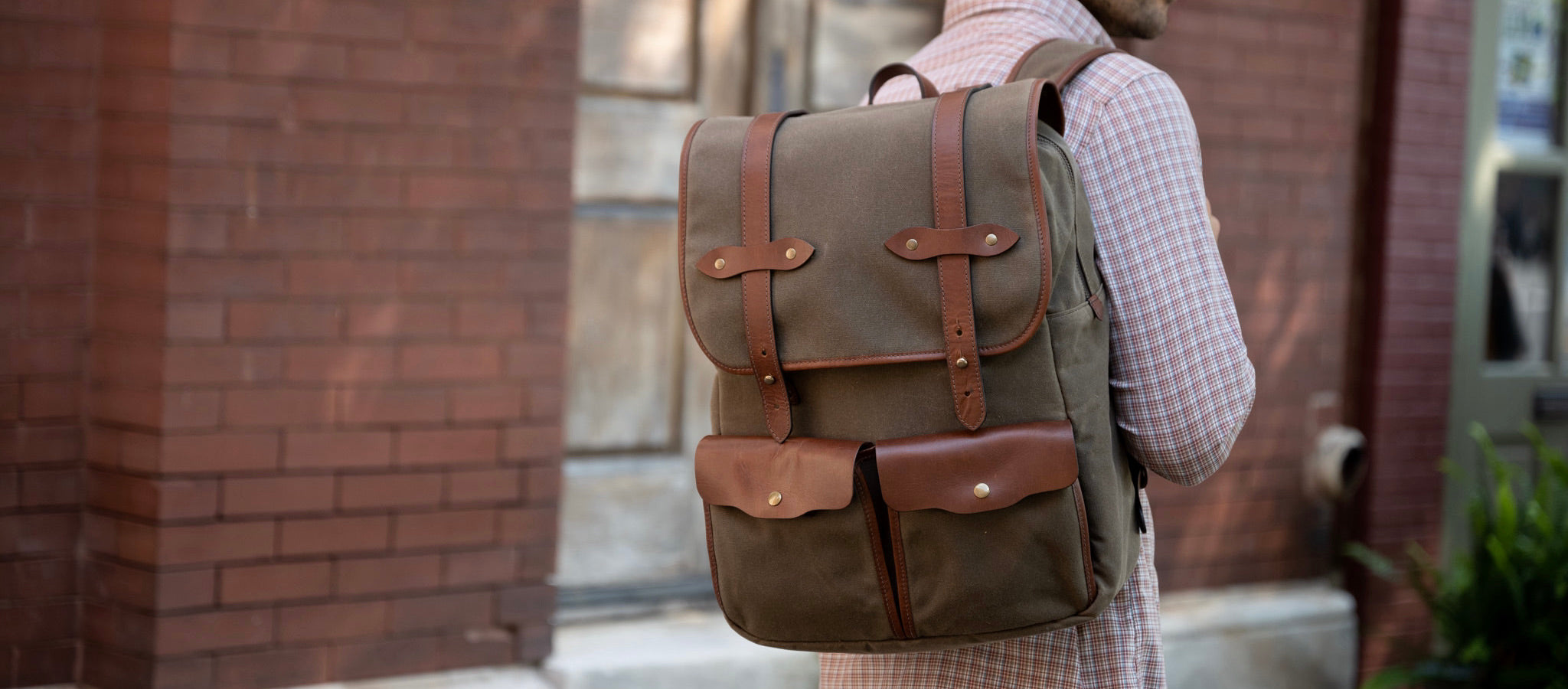Jackson Wayne Founder's Backpack in waxed canvas and full grain leather