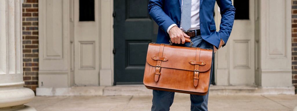 vegetable tanned leather briefcase bag