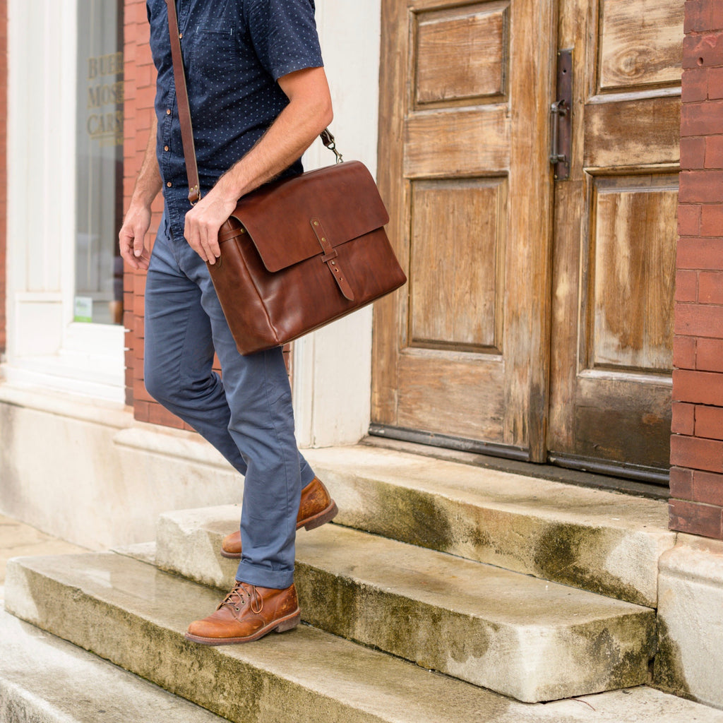 full grain leather messenger bags by Jackson Wayne - vegetable tanned leather