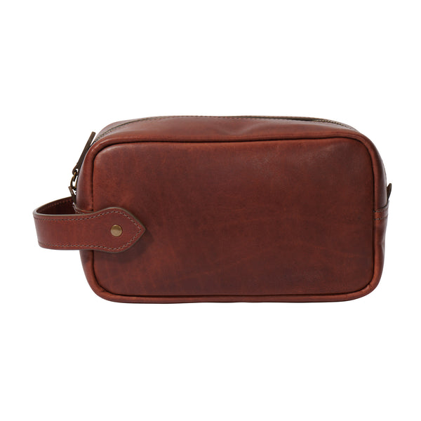 full grain leather Dopp kit vintage brown color side view