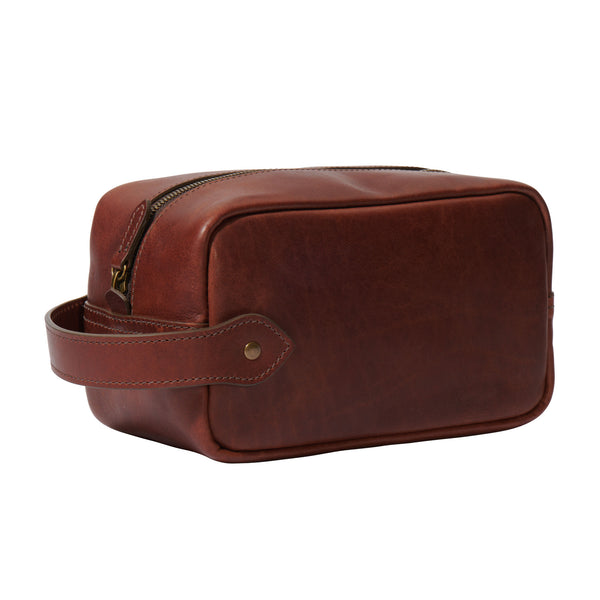 full grain leather toiletry bag in vintage brown color angle view