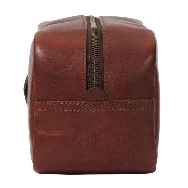 back of full grain leather Dopp kit in vintage brown