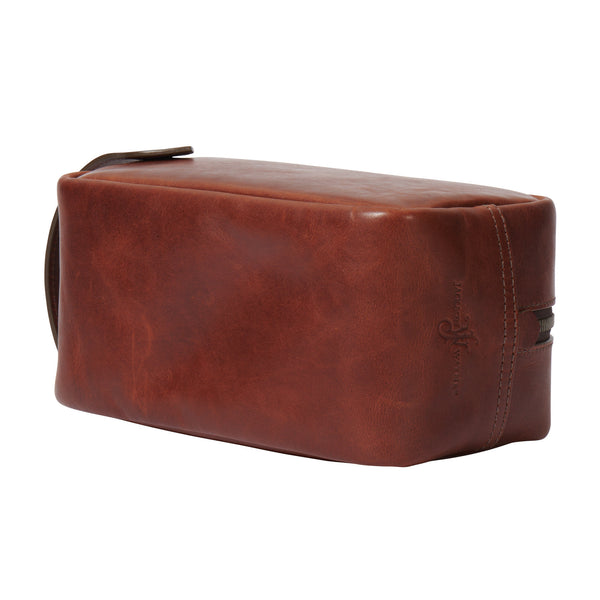 bottom view of full grain leather Dopp kit in vintage brown color