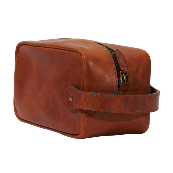 full grain leather, semi vegetable tanned, Dopp kit toiletry bag in saddle tan by Jackson Wayne