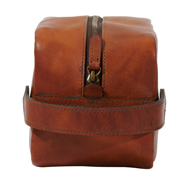 front view Dopp kit in full grain leather saddle tan color