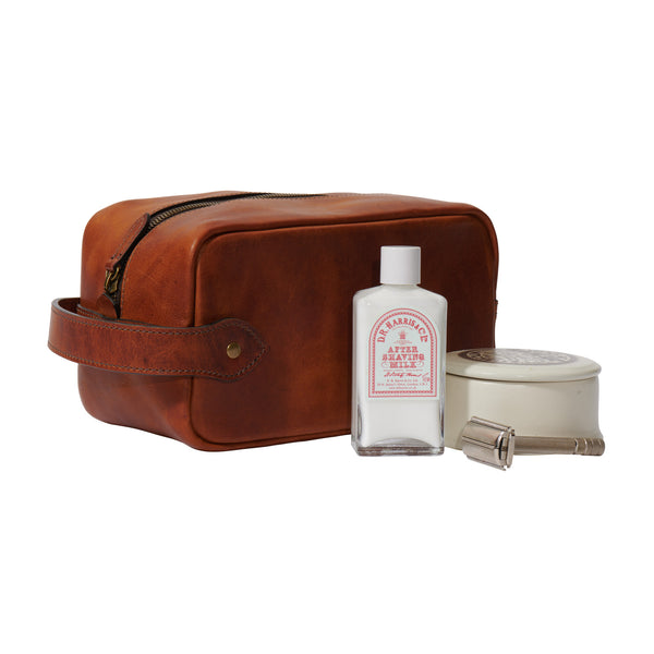 Jackson Wayne full grain leather Dopp kit and toiletry bag in saddle tan color with shaving accessories