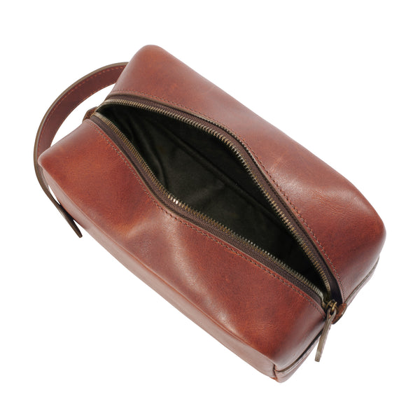 jackson wayne leather dopp kit inside vintage brown