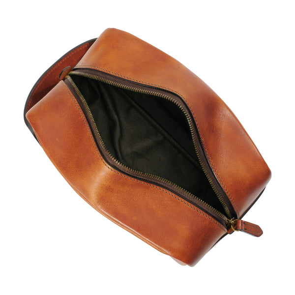 jackson wayne leather dopp kit inside saddle tan