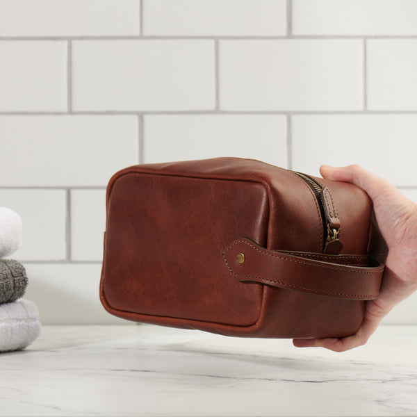 full grain leather Dopp kit with grab handle
