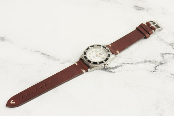 italian leather watch strap vintage style with stainless steel buckle in vintage brown color