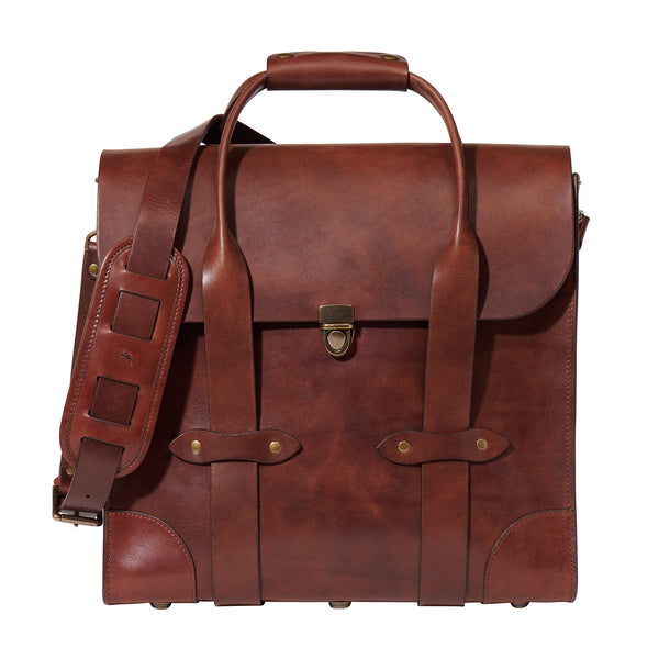 Jackson Wayne leather bourbon bag whiskey carrier in vintage brown full grain leather
