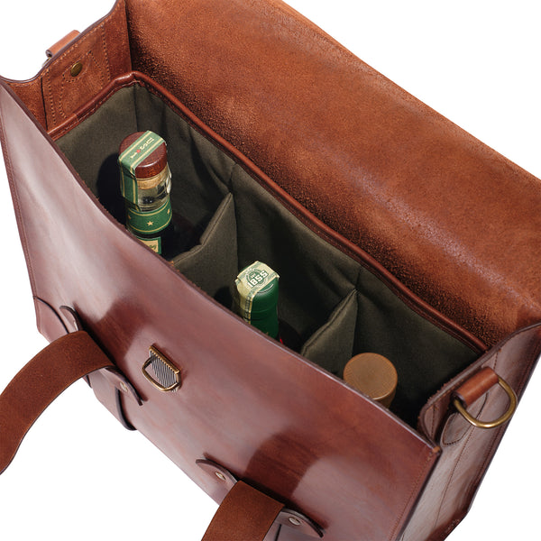 3 bottle holder bourbon bag by Jackson Wayne leather goods - pine green water repellent canvas