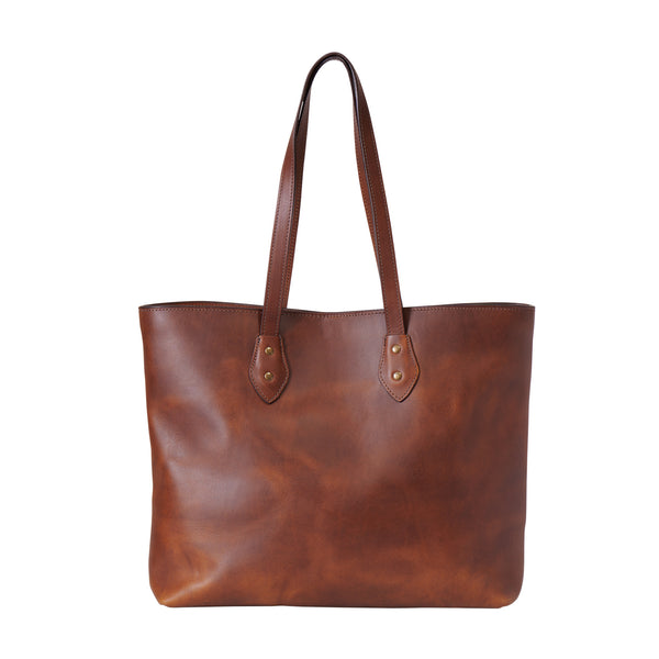 Franklin Market Tote - full grain leather tote bag in wildwood brown color by Jackson Wayne