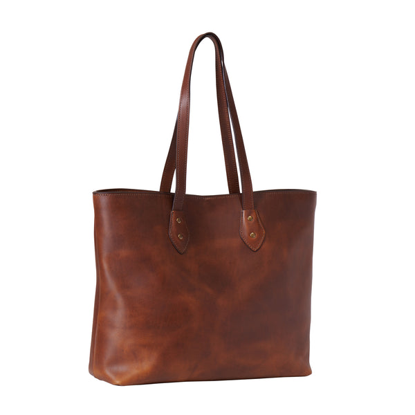 Jackson Wayne full grain leather tote in wildwood brown angle