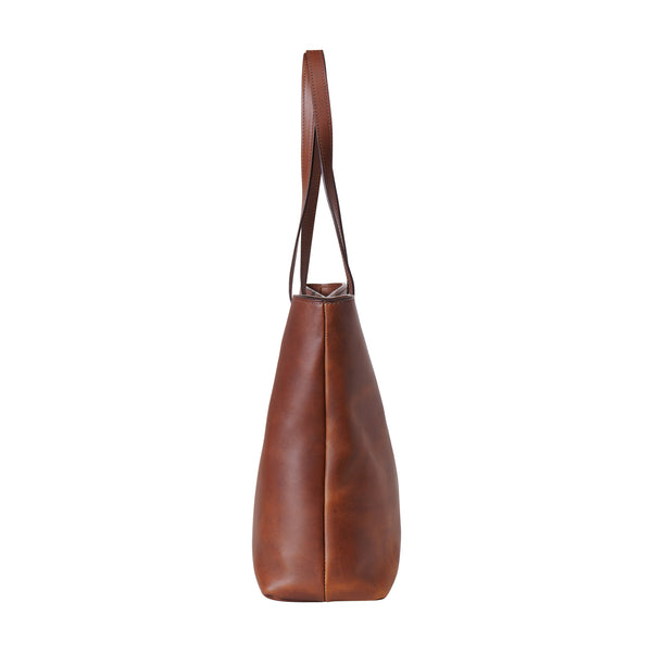 wildwood brown leather tote side view
