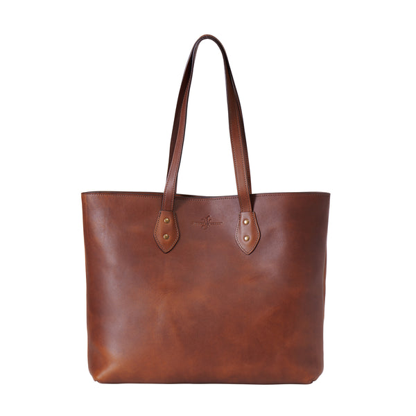 Jackson Wayne full grain leather tote bag carryall market bag in wildwood brown