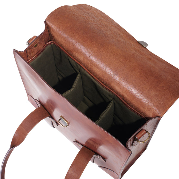 inside view of leather bourbon bag with padded water repellent canvas bottle holders by Jackson Wayne