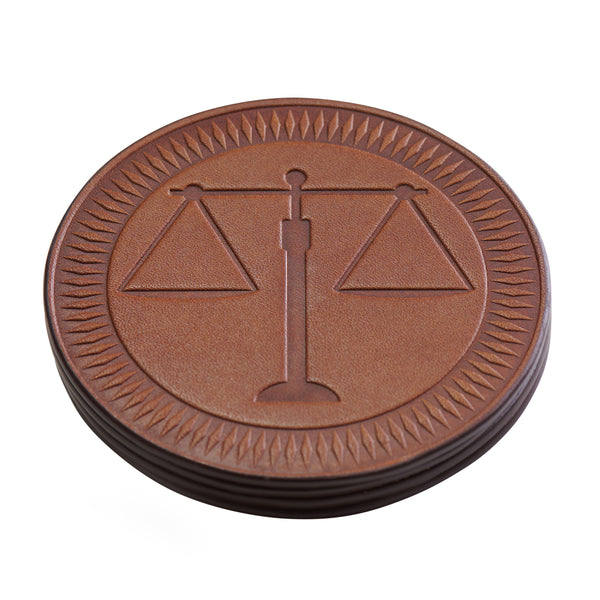leather coasters with scales of justice for lawyers set of 4