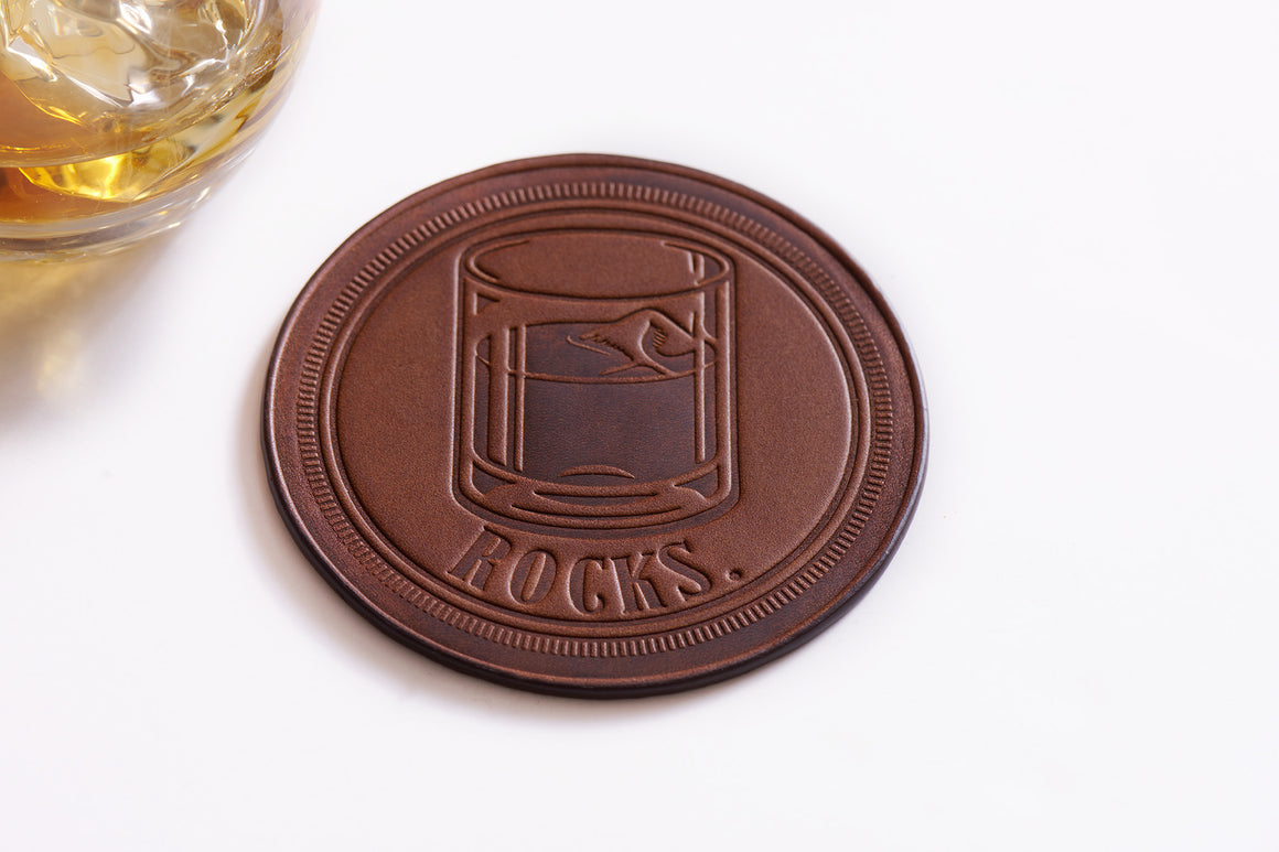 full grain leather coasters - rocks glass design by Jackson Wayne
