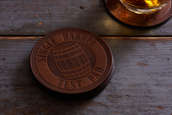 full grain leather coasters single barrel design set of 4 by Jackson Wayne