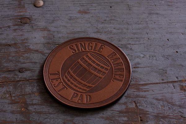 single barrel test pad leather coasters by Jackson Wayne wildwood brown leather
