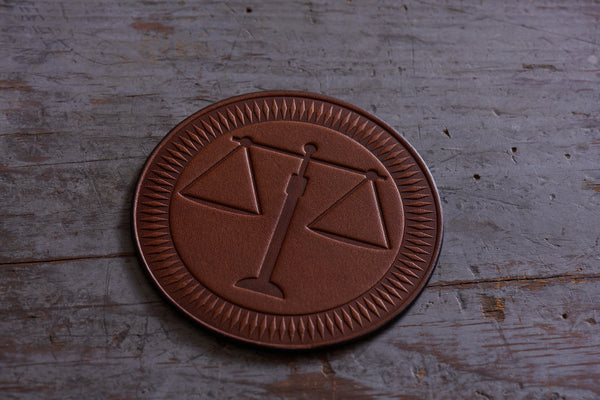 lawyer gift - scales of justice leather coasters set of 4 wildwood brown color leather
