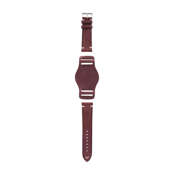 full grain Italian leather watch strap with bund pad