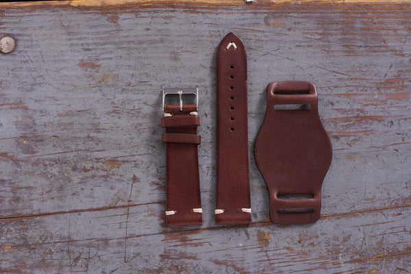 italian leather watch strap with bund pad - vintage brown color 3 pieces
