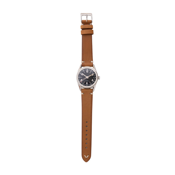 vintage Italian vegetable tanned leather watch strap with watch in saddle tan color by Jackson Wayne