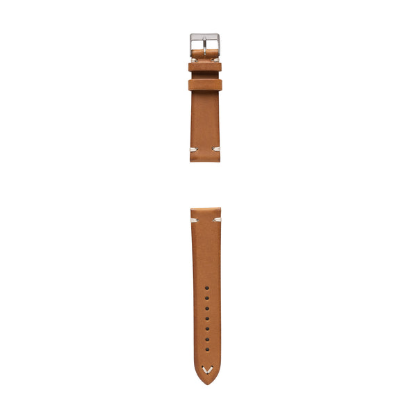 vintage Italian leather watch strap made in Italy saddle tan color (front)