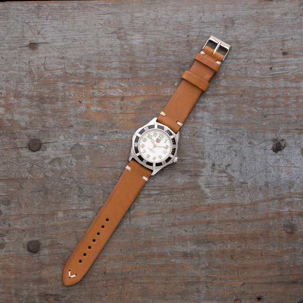 vintage leather watch strap made of full grain Italian leather in saddle tan color by Jackson Wayne