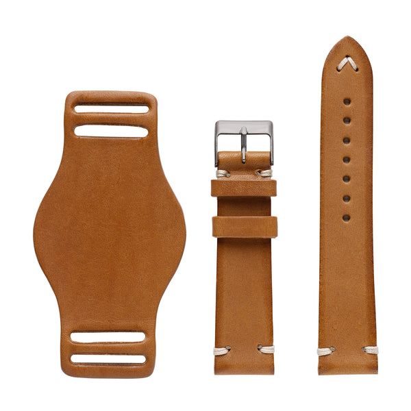 full grain Italian leather watch strap with bund pad - saddle tan color
