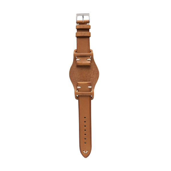 vintage leather watch strap with optional bund strap pad made in Italy - saddle tan color with stainless steel buckle
