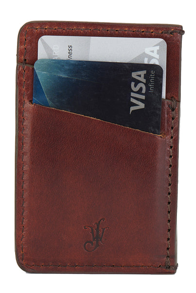 front pocket minimalist wallet in vegetable tanned full grain leather by Jackson Wayne vintage brown color
