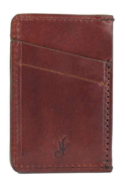 full grain leather minimalist wallet back empty pictured in vintage brown